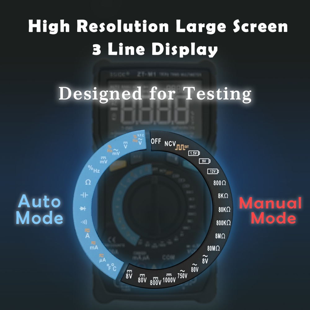 Battery M1 BSIDE Manual ZT Test Counts Square EBTN 8000 Wave Voltage Display Tester Digital Output Triple VFC Auto Multimeter