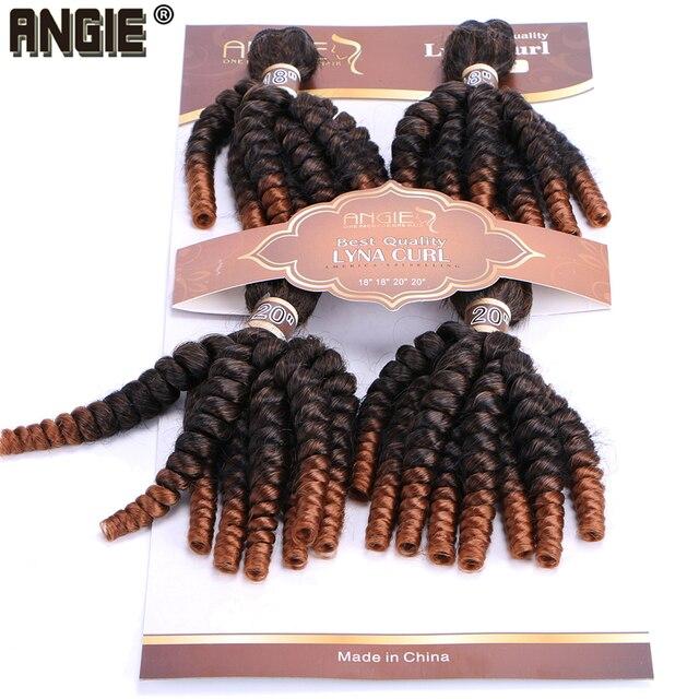 Angie Ombre Funmi syntetyczne włosy do przedłużania 4 wiązki jedno opakowanie w dwóch odcieniach T1B/#30 krótkie włosy doczepiane wysokiej temperatury włókna