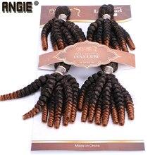 אנג י Ombre Funmi סינטטי שיער שוזר 4 חבילות חבילה אחת שני טון T1B/#30 שיער קצר ערב תוספות טמפרטורה גבוהה סיבים