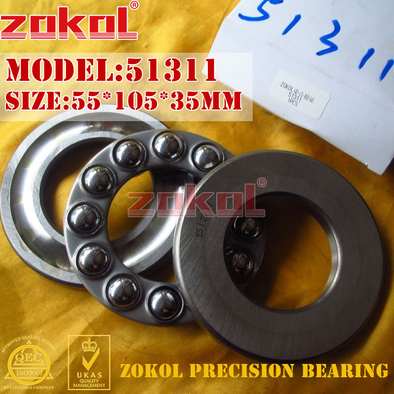 ZOKOL bearing 51311 Thrust Ball Bearing  8311 55*105*35mm zokol bearing 51130 thrust ball bearing 8130 150 190 31mm