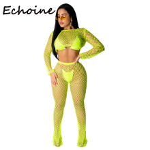 Echoine Sexy 2 Piece Set Women Hollow Out Cut Out Crop Top + Long Pant Summer Beach Set  Women Clothes 2019 Outfits army green cut out crop top
