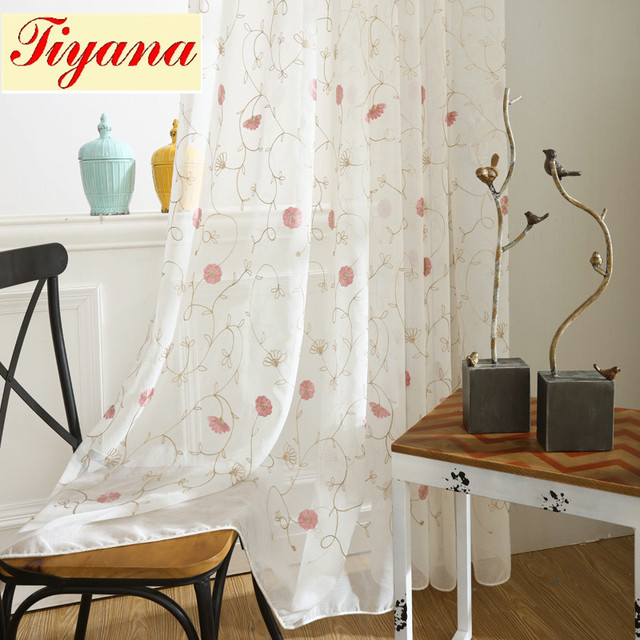 White Sheer embroidered Chrysanthemum pattern floral drapes Tulle ...