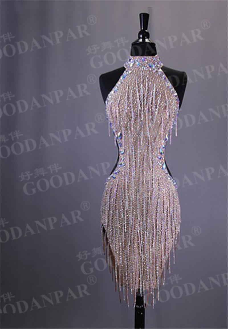 GOODANPAR New Style Sexy Lycra Latin Dance Dress Women Sleeveless Competition Salsa Rumba Samba Flapper Dress With Bodysuit Bra