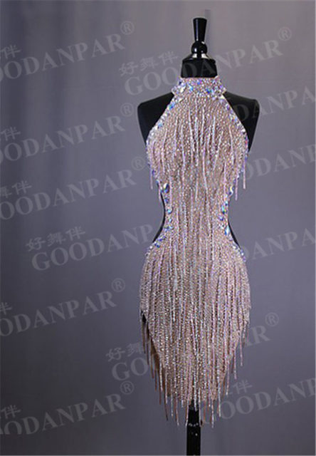 GOODANPAR New Style Sexy Lycra Latin Dance Dress Women Sleeveless Competition Salsa Rumba Samba Flapper Dress With Bodysuit Bra