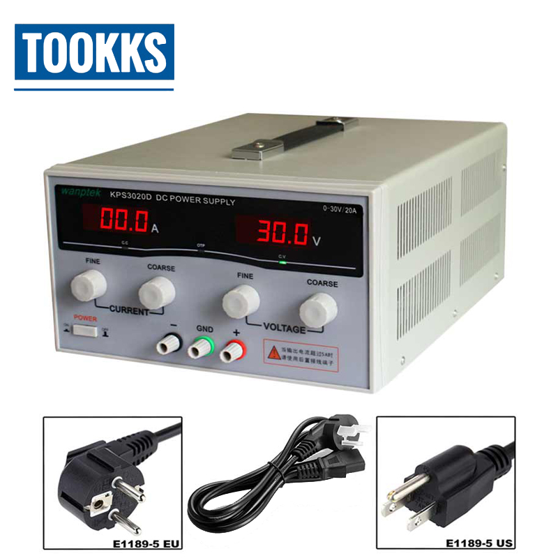 High Precision Adjustable Digital DC Power Supply KPS3020D 30V/20A Switching Power Supply For Computer Phone Repair Workshop 1200w wanptek kps3040d high precision adjustable display dc power supply 0 30v 0 40a high power switching power supply