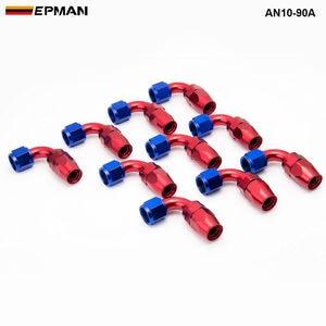 Image 1 - 10pcs /set 90Degree High Performance AN10 Hose End Fitting Aluminum oil cooler hose fitting  AN10 90A