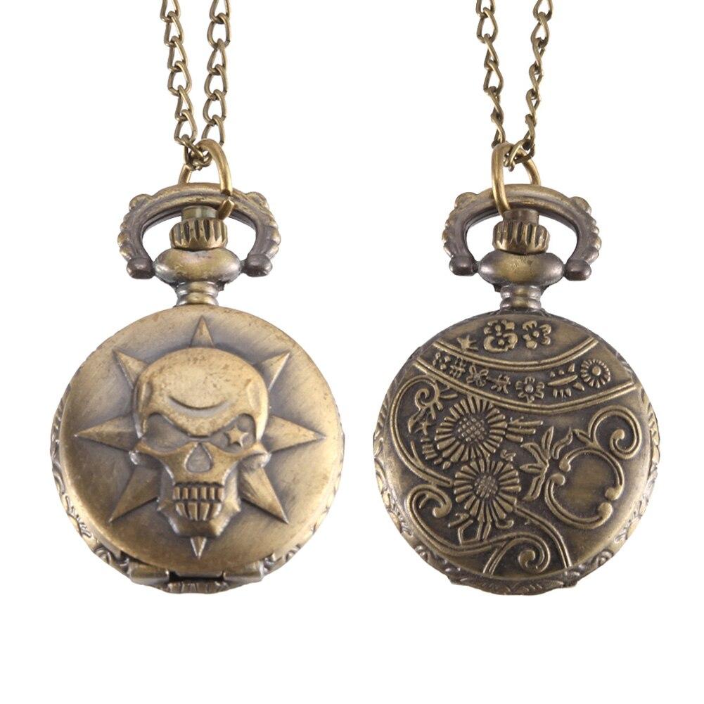 Vintage Pocket Watch Bronze Color Quartz Watch Cool Chain Skull Pattern Watches LL@17