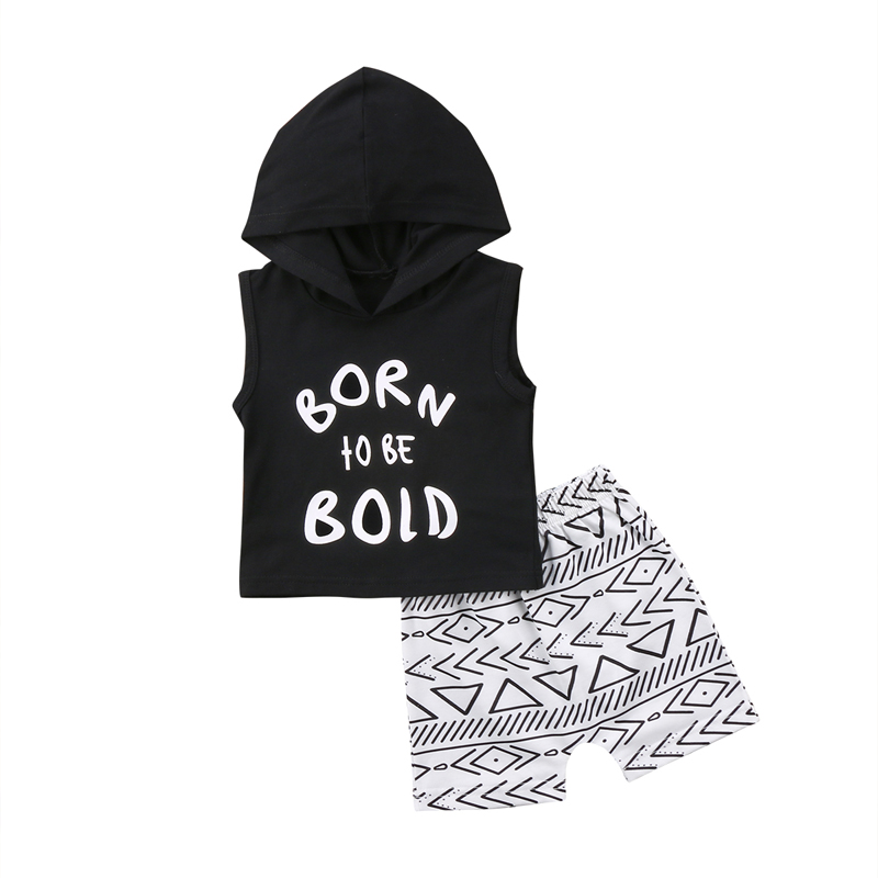 New Cute Kids Newborn Boys Clothes Set Summer Short Sleeved Hooded T-Shirts Top +shorts Trousers