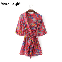 Boho Red Lovebird Floral Print Bell Sleeve Playsuit With Self Tie Sexy Deep V Neck 2017