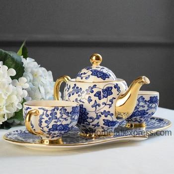 Famous Blue and white porcelain mug sets dishes mug serving tray 24K edges mug
