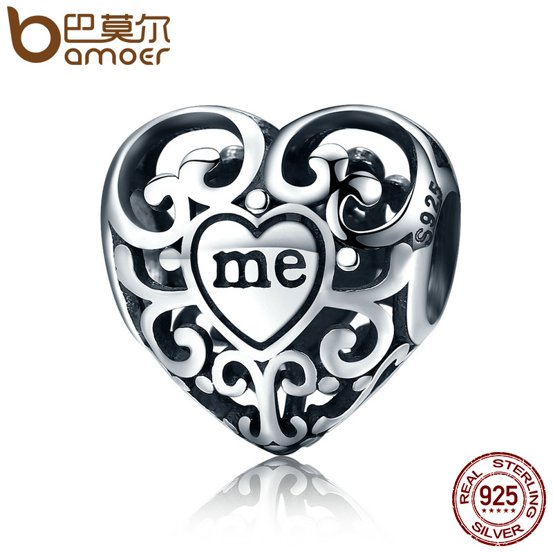 BAMOER Romantic Real 925 Sterling Silver Openwork You & Me Flower Leaf Beads fit Charm Bracelet & Bangle DIY Jewelry Gift SCC145 bamoer romantic new 925 sterling silver i love you forever engrave spacer beads fit charm bracelet