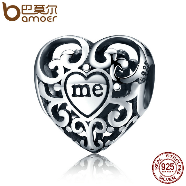 BAMOER Romantic Real 925 Sterling Silver Openwork You & Me Flower Leaf Beads fit