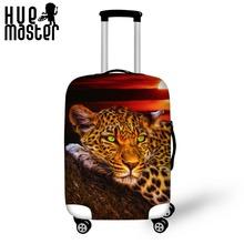 Leopard Lion Tiger Printing walizka ochronna Pokrowce Akcesoria podróżne wodoodporny pokrowiec na wózek sprężysty pokrowiec tanie tanio 72 cala 50 cali w Odbitki zwierzęce do 0 2 kg Pokrowiec na bagaż 20inch S M L XL 90 poliester 10 spandex 250g papier kredowany