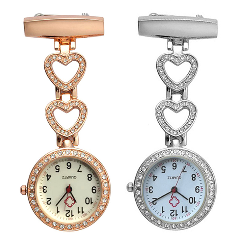 Fashion Women Pocket Watch Clip-on Heart/Five-pointed Star Pendant Hang Quartz Clock For Medical Doctor Nurse Watches LF88