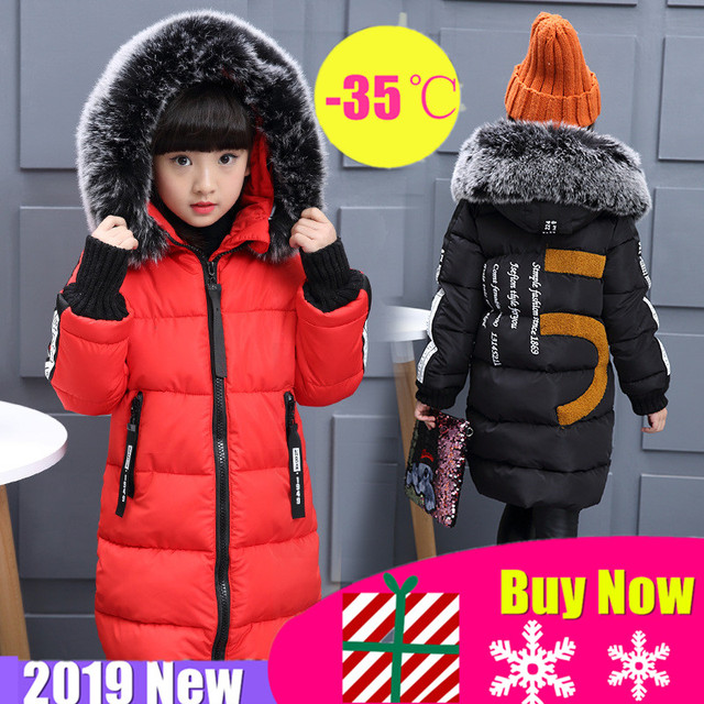 2019 Girls Russian Winter Long Thickened Warm Cotton Outerwear & Coats Children Hooded Windbreakers Kids Embroidered Jackets  30
