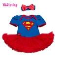 Novo Estilo de Vestido de Recém-nascidos Roupa Do Bebê Meninas Superman Macacão Azul Plissado Vestidos Criança Tutu Menina Roupas de Festa para Birtthday