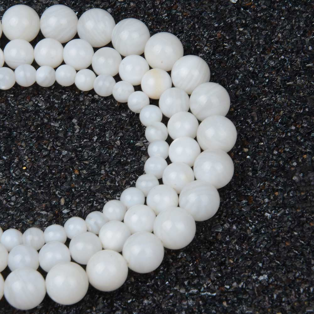 Chanfar Round White Shell Beads For Women Shell Jewelry Making Loose Beads