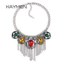 Фотография KAYMEN Vintage Chokers Necklace Antique Silver Plated Rhinestone Tassels Chains Statement Necklace for Women Girls Bijou