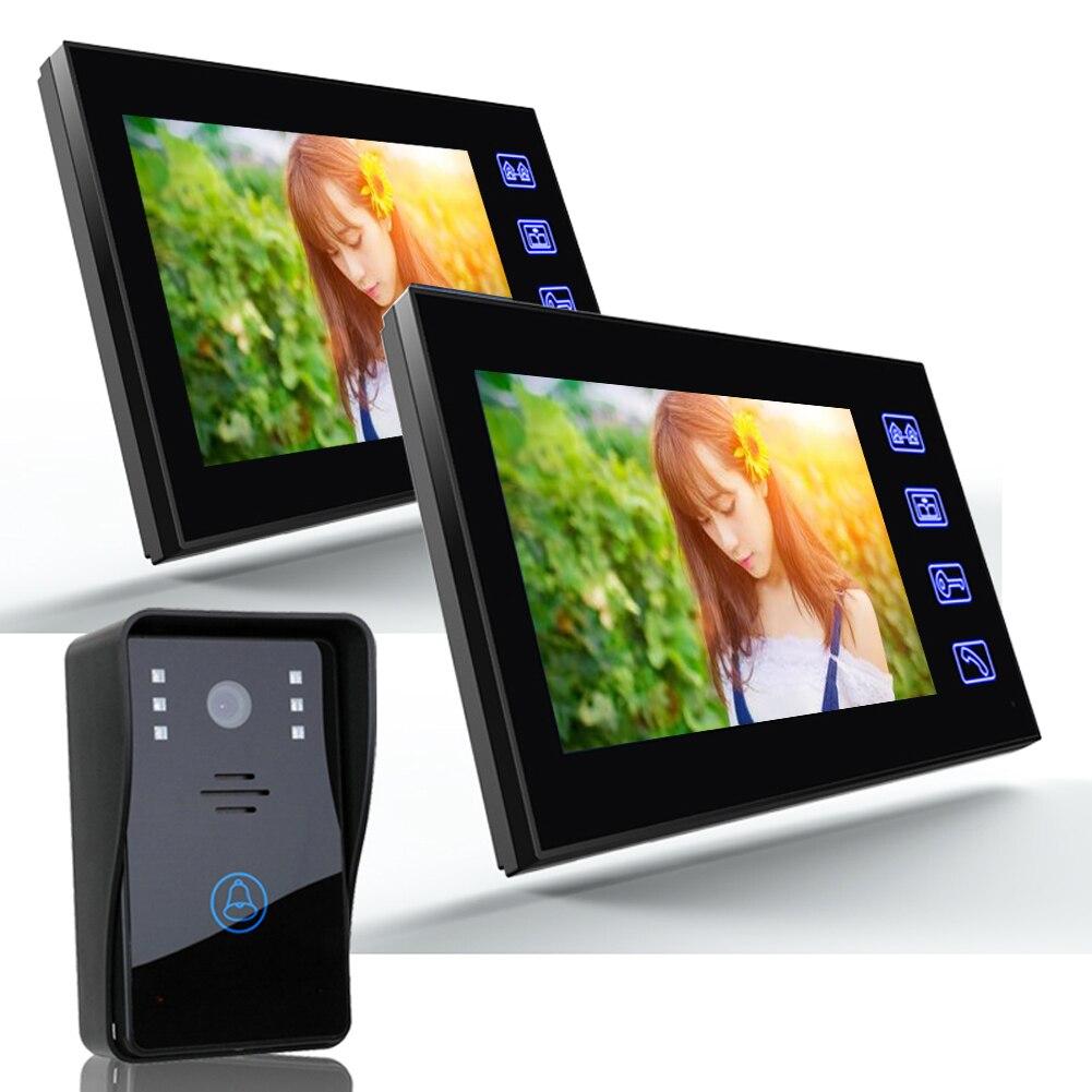 7 дюймов tft ЖК дисплей сенсорный телефон видео домофон Дверные звонки Открытый дальним безопасности Камера замок Управление Мониторы дверн