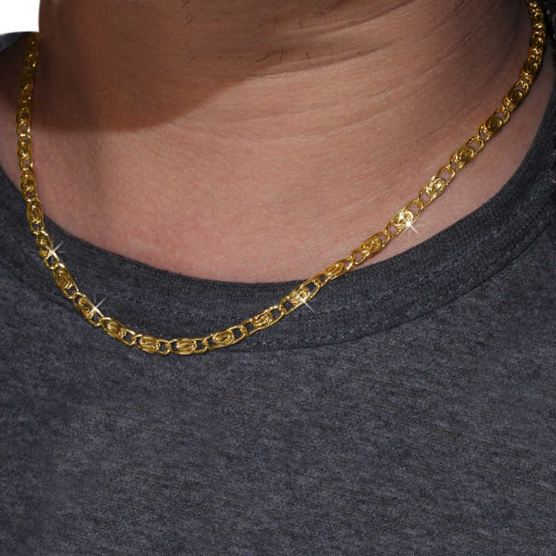 Karopel Vintage Men Chain Choker Necklace Unisex Golden Link Chain Necklaces Charms Body Jewelry Bijoux Female For Women