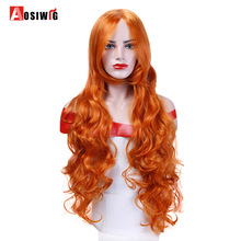Orange Long Wavy Cosplay Wigs 10 Colors Heat Resistant Synthetic Hair Costume Halloween Party Wig AOSIWIG