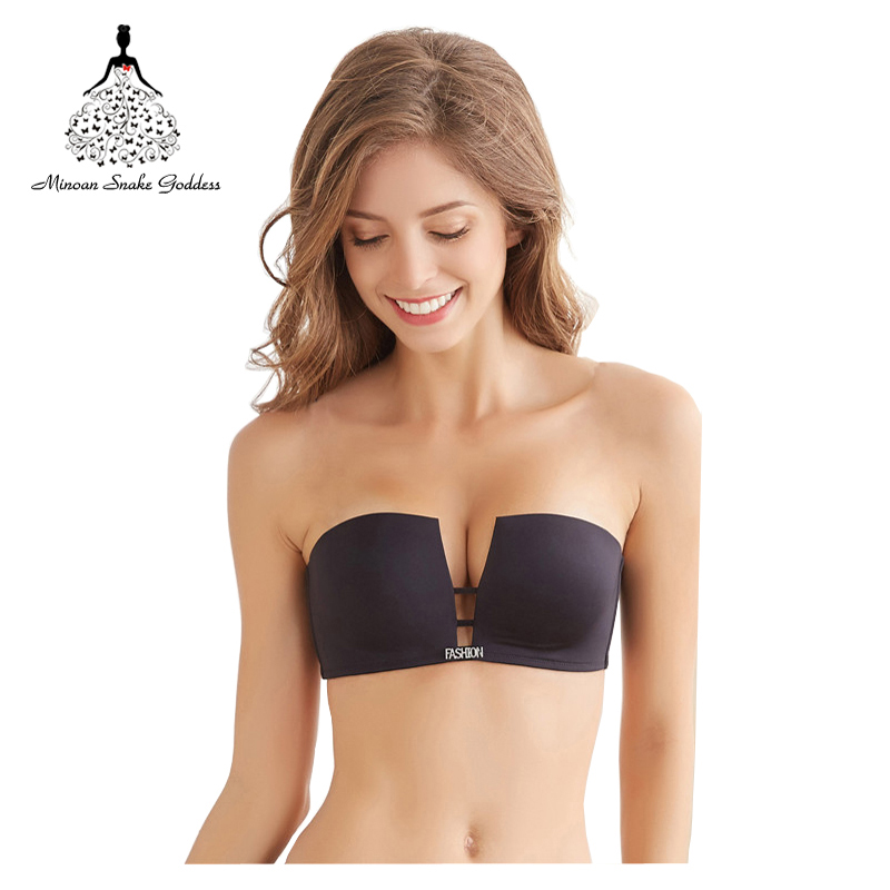 Push Up Seamless Bra Bralette Deep-V Square Cup Plus Size Bra Bralet Brassier Invisible Strapless BH Wire Free EU&US Style Bra