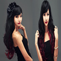 70cm Hot Harajuku Wig Cosplay Black and Red Long Wavy Curly Women Synthetic Wigs Side Bang Peruca Colorida