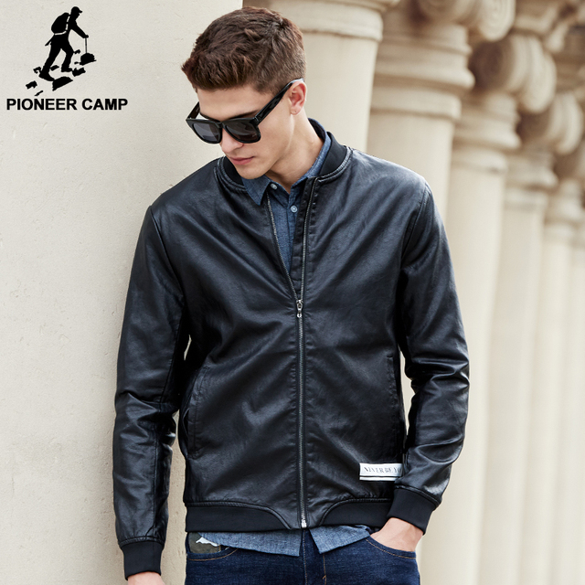 Pioneer Camp new brand men leather jacket top quality male autumn winter leather jacket male fashion leather coat men 699110