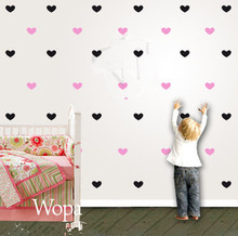 70pcs/color Tiny Love Hearts Pattern Vinyl Decal Sticker for Home Wall Furniture Cabinet Fridge Door Decor