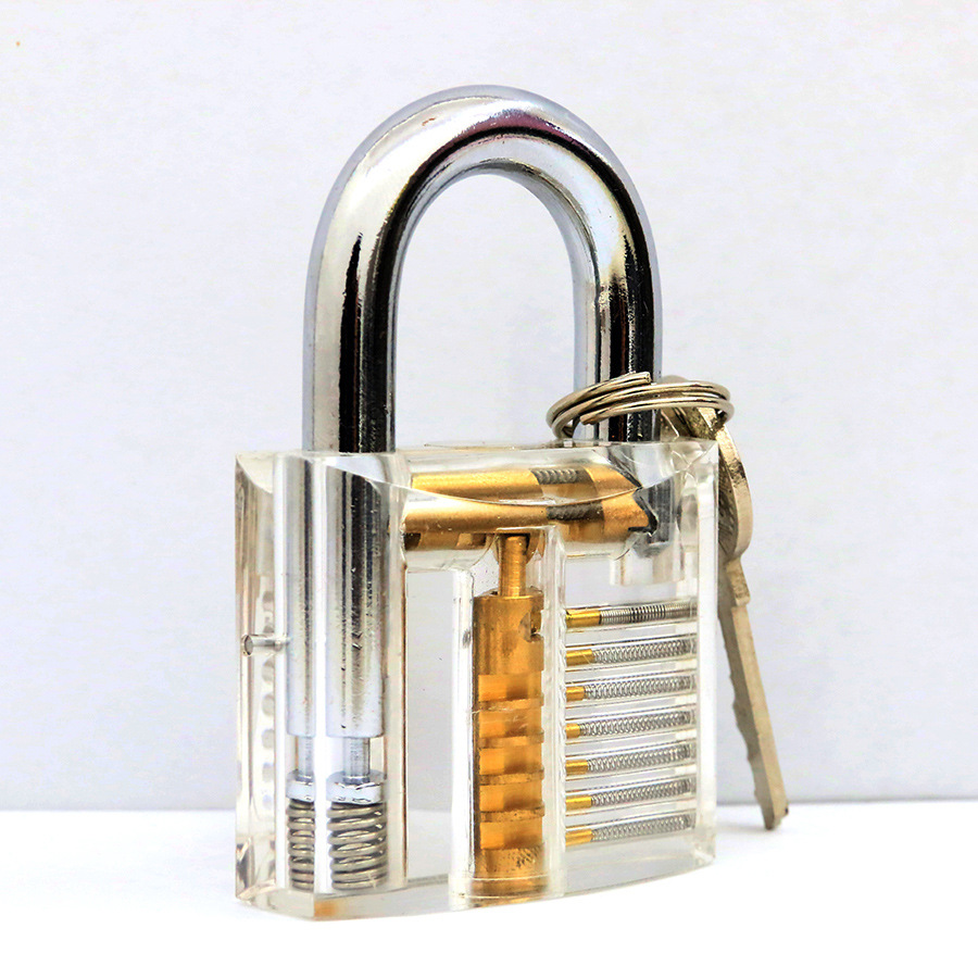 1pcs Cutaway Inside View Of Practice Transparent Padlock Lock Training Skill Pick View Padlock For Locksmith With Smart Keys 3pcs cutaway inside view of practice padlocks ab lock crescent lock tau lock pick tools locksmith training skill tools set