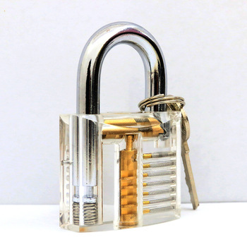 1pcs Cutaway Inside View Of Practice Transparent Padlock Lock Training Skill Pick View Padlock For Locksmith With Smart Keys 6pcs set transparent visible cutaway practice padlock door lock pick training skill for locksmith cerradura