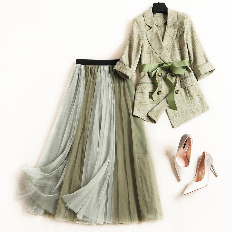 Women Elegant Double Breasted Blazer Plaid Jacket + Color Block Long Mesh Tutu Skirt 2 Piece Set Outfits New 2019 Spring Green