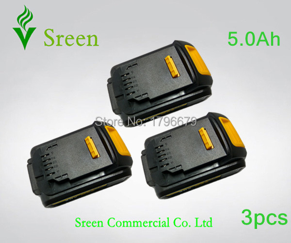 3pcs 5000mAh Power Tool Rechargeable Li Ion Battery Replacement for DEWALT 18V DCB200 DCB201 DCB203 DCB204
