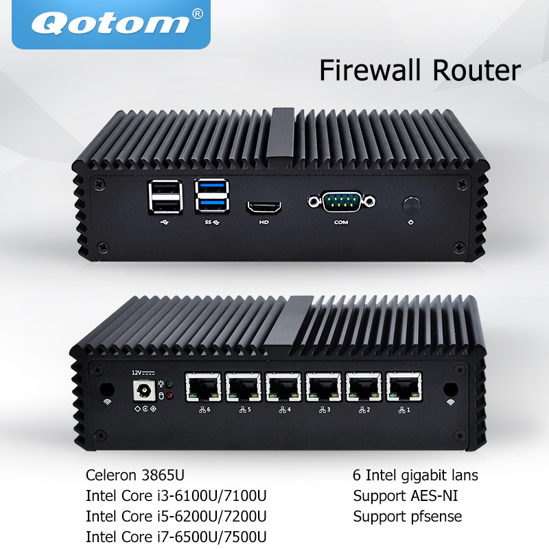 Qotom Mini PC 6 LAN VPN Firewall Router Server Industrial Micro Pc Celeron Core I3 I5 I7 AES-NI Fanless Pfsense Mini Computer