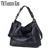 VM FASHION KISS 100% Real Leather Blending Litchi Pattern Hobos Shoulder Bag Retro Female Crossbody Bags For Women Top handle