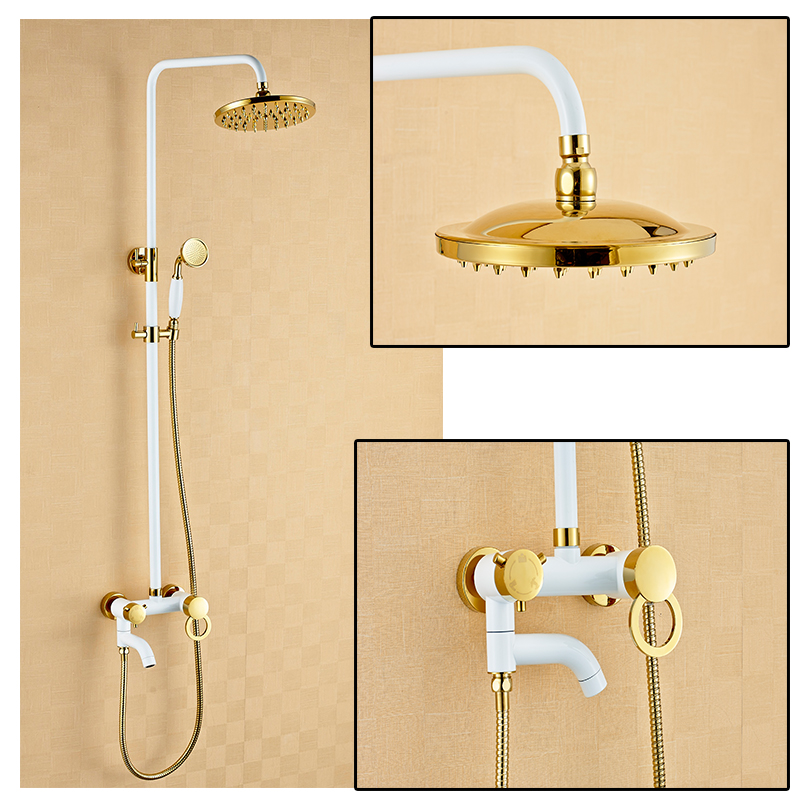 Rain Shower Faucets in white and gold colour Brass Tub Shower Faucet with 8 inch Shower Head + Hand Shower