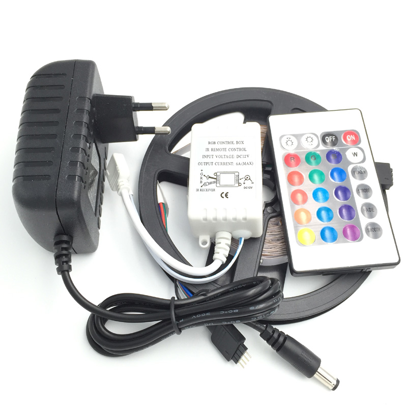 5 M Non-étanche SMD3528 LED bande 300 LED s 5 m rgb lumière LED + 24 touches contrôleur + 12 v 2a adaptateur secteur