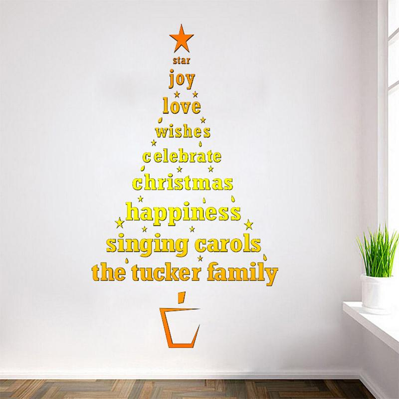 Hot Sale!!!Golden Christmas Tree Wall Stickers Best Wishes Christmas ...