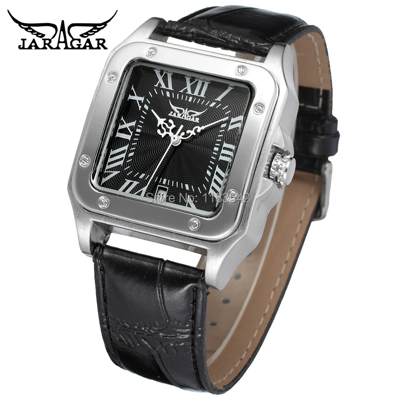 New Winner Casual Automatic Watches Men Hot sale  Automatic fashion Men Watch black leather strap Shipping Free WRG8073M3S2 new men watches casual zhongyi 611 2
