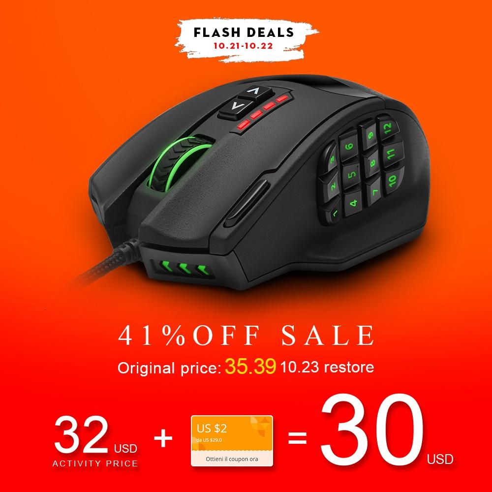 Rocketek Gaming series 50 a 16400 DPI de Alta Precisión Láser MMO Gaming Mouse para PC, 19 UNIDS Botones [Compatible con Windows 10]