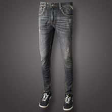Italian Vintage Designer Men Jeans Dark Gray Color Slim Fit Cotton Ripped Long Pants Top Quality Brand Classical