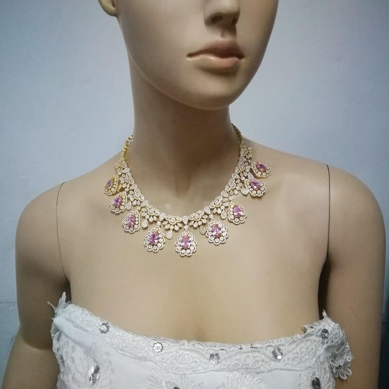 2019 nouvelle mode luruxy rose CZ zircon collier boucle d'oreille bracelet anneau ensemble de bijoux de mariage mariée banquet dressing ensemble de bijoux - 4