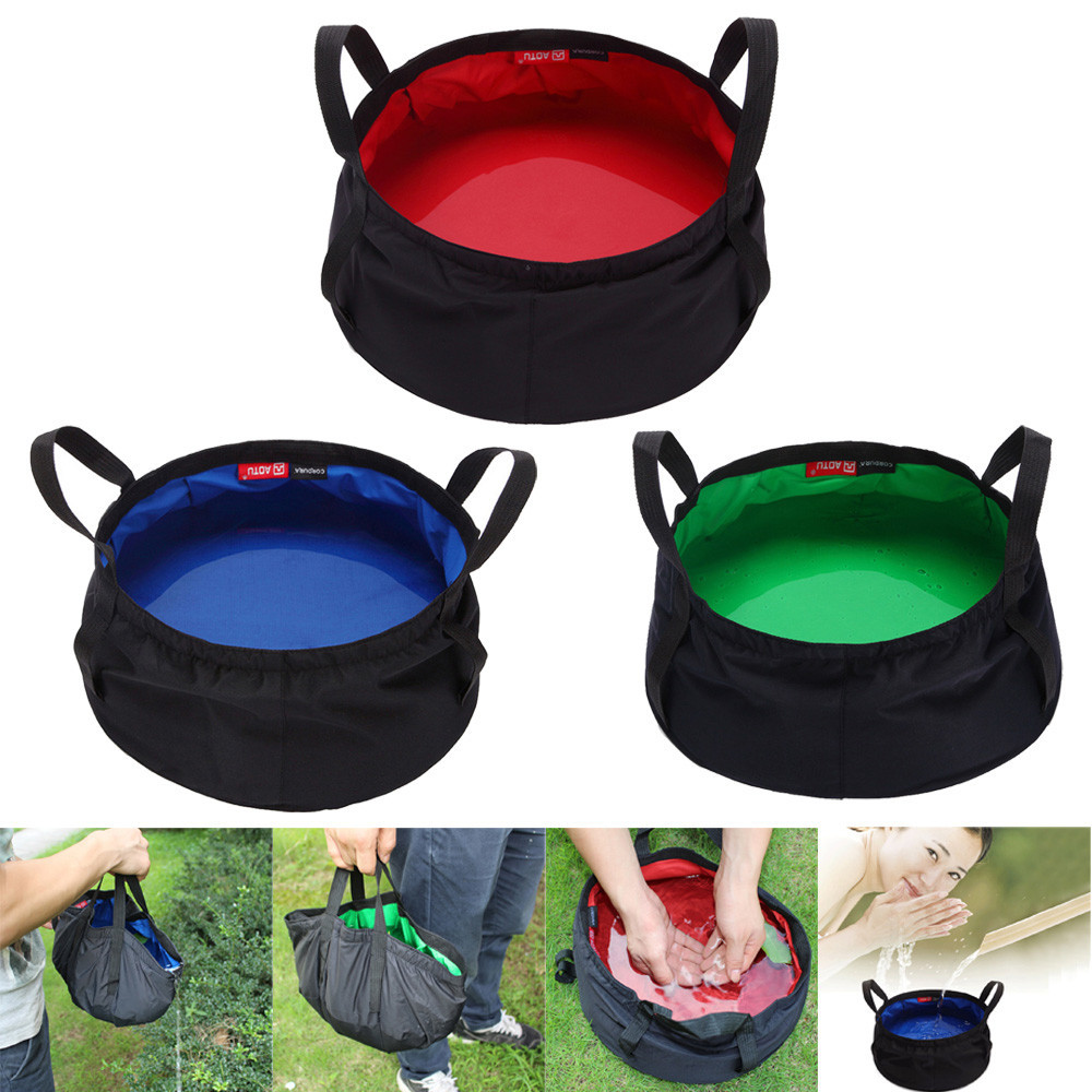 8.5L Portable Collapsible Outdoor Wash Camping Folding Basin Bucket Camping outdoor survival ring camp hike outdoor #25