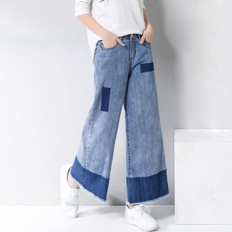 2017 Autumn Casual Ankle-Length Tassel Jeans  Contrast Color Wide Leg Jeans High Waist Loose Denim Pants 26-32 plus size side stripe wide leg blue capris jeans 4xl 7xl oversized tassel irregular fringe ankle length denim pants