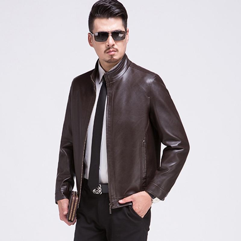 Los Casual Chaqueta Abrigos Slim marrón Collar Cuero Y Tamaño La Nuevos Hombres Pu Primavera Negro Plus Chaquetas De Otoño rxwRr1vg