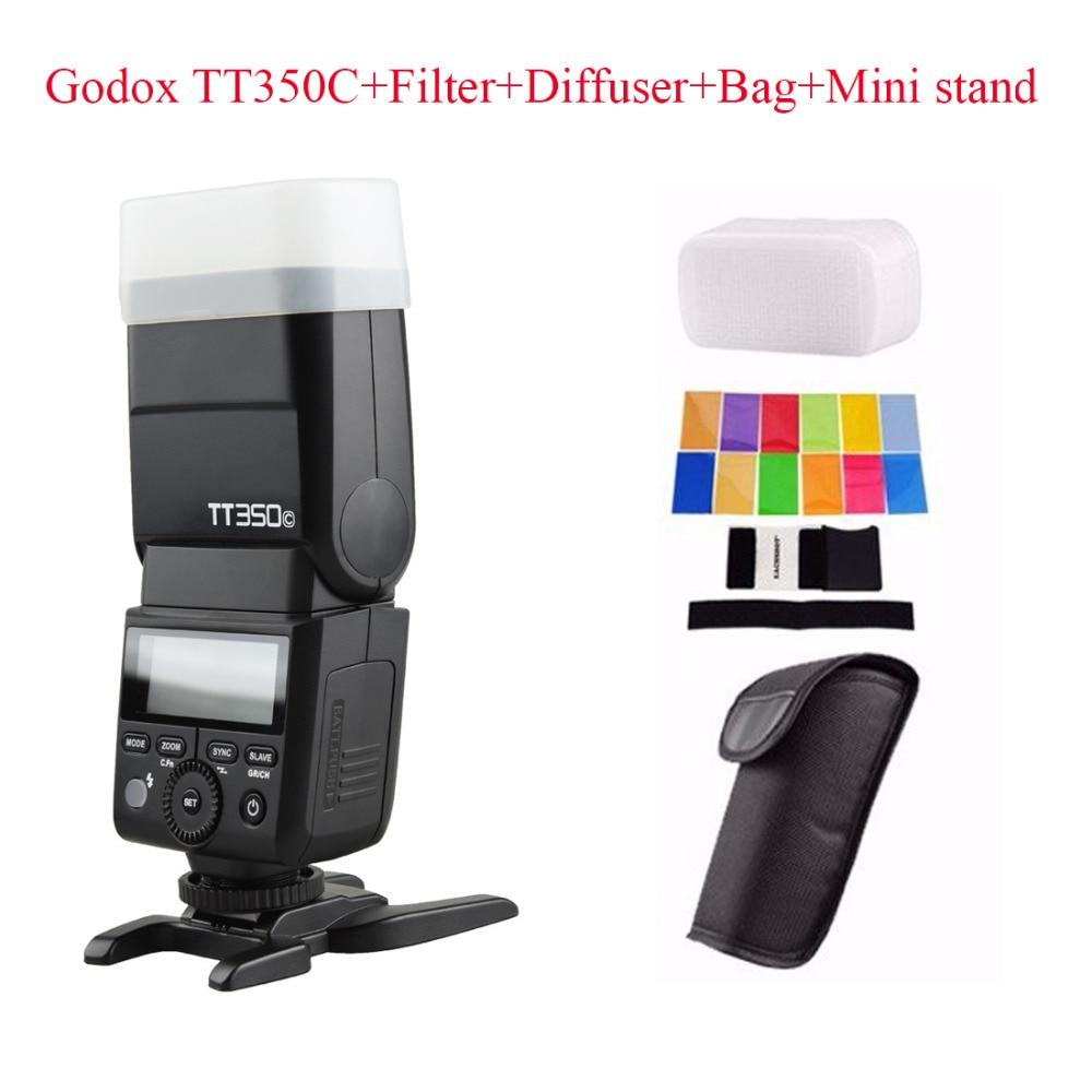 Godox TT350C 2.4G HSS 1/8000s TTL GN36 Wireless Speedlite Flash for Canon EOS M M2 M5 M6 5D Mark III 80D 70D + Diffuser + Filter meike dslr camera built in 2 4g battery grip for canon eos 7d mark ii as bg e16