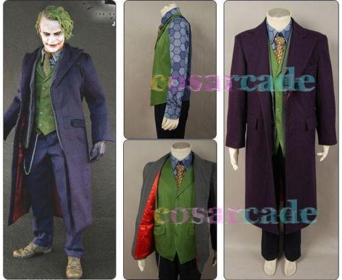 Batman Dark Night Joker Halloween Cosplay Costume For Men 5 Pcs Purple Cape Trench Coat Vest Shirt Tie Movie Suit Outfit Set
