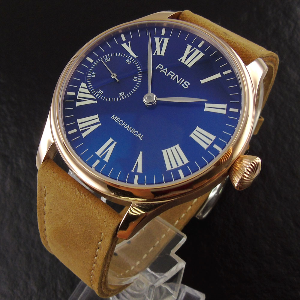 44mm parnis blue dial camel leather strap Rose Golden Case Luxury Brand Luminous 6497 hand winding movement Men's Wristwatch 44mm parnis blue dial luxury brand silver hands rose golden plated case luminous marks leather 6497 hands winding men s watch