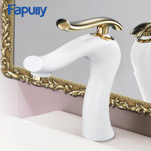 Fapully Basin Faucets Bathroom Faucet Hot & Cold Water Elegant Tap White Painting Brass Toilet Sink Crane Mixer 774