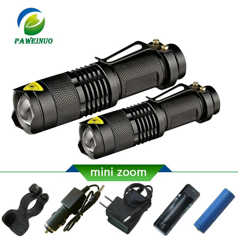 3PCS 10000 lm Zoomable T6 COB LED Mini Flashlight Pocket Pen Light Torch Lamp MN